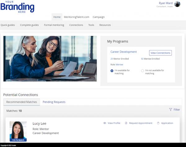 mentoring software dashboard
